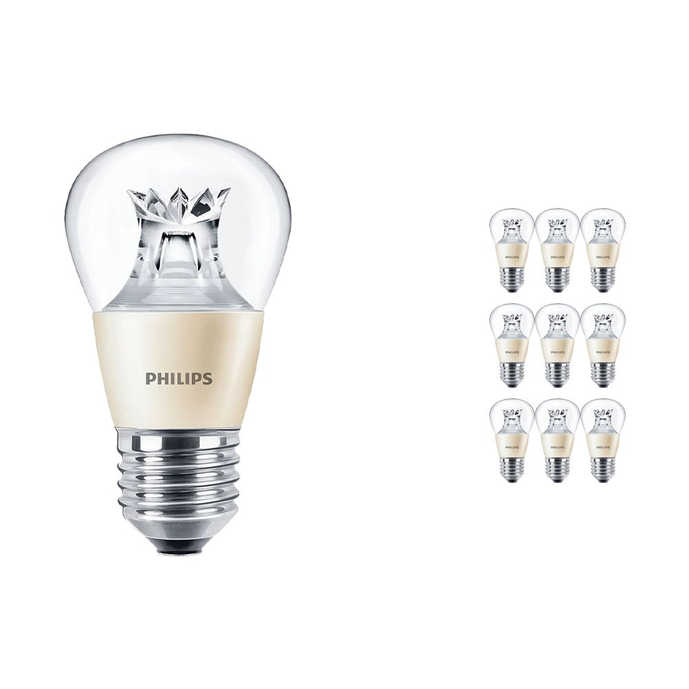 Mehrfachpackung 10x Philips LEDluster E27 P48 4W 827 Klar (MASTER)   DimTone Dimmbar - Ersatz für 25W