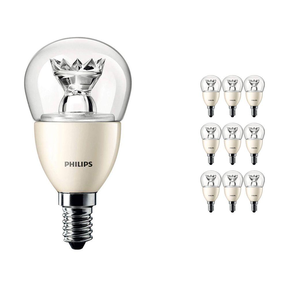 Mehrfachpackung 10x Philips LEDluster E14 P48 6W 827 Klar (MASTER) | DimTone Dimmbar - Ersatz für 40W