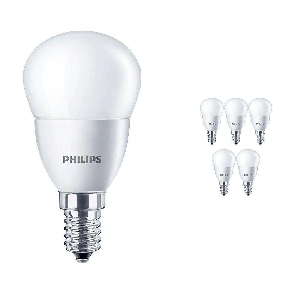 Mehrfachpackung 6x Philips CorePro LEDluster E14 P45 5.5W 827 Matt   Ersatz für 40W