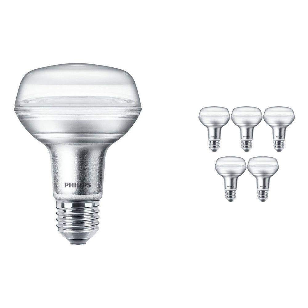 Mehrfachpackung 6x Philips CorePro LEDspot E27 Reflektor R80 4W 827 36D   Ersatz für 60W